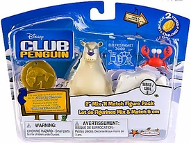 Disney Club Penguin Series 8 Mix 'N Match Mini Figure Pack Herbert P. Bear Esquire & Klutzy the Crab [Includes Coin with Code!]
