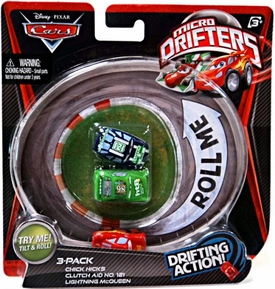 Disney / Pixar CARS Movie Micro Drifters 3-Pack Chick Hicks, Clutch Aid & Lightning McQueen