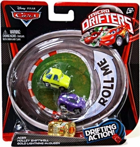 Disney / Pixar CARS Movie Micro Drifters 3-Pack Acer, Holley Shiftwell & GOLD Lightning McQueen