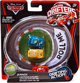 Disney / Pixar CARS Movie Micro Drifters 3-Pack Lightning McQueen, Octane Gain & Spare O Mint