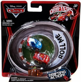 Disney / Pixar CARS Movie Micro Drifters 3-Pack Mater, Raoul CaRoule & WGP Lightning McQueen