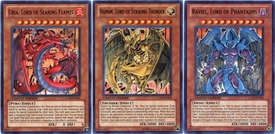 YuGiOh GX Legendary Collection 2 Single Card Ultra Rare Set of the 3 Sacred Beast Cards Uria, Hamon & Raviel