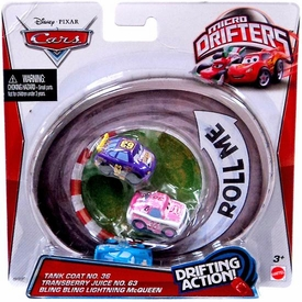Disney / Pixar CARS Movie Micro Drifters 3-Pack Tank Coat, Transberry Juice & Bling Bling Lightning Mcqueen