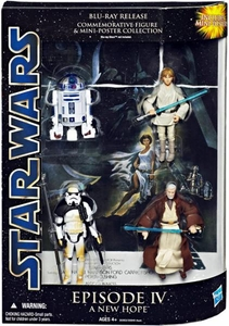 Star Wars Saga Blu-Ray Commemorative Action Figure 4-Pack Episode IV A New Hope  [Luke Skywalker, Sandtrooper, R2-D2 & Obi-Wan Kenobi]