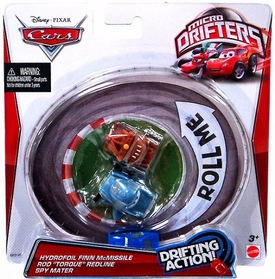 Disney / Pixar CARS Movie Micro Drifters 3-Pack Hydrofoil Finn McMissile, Rod