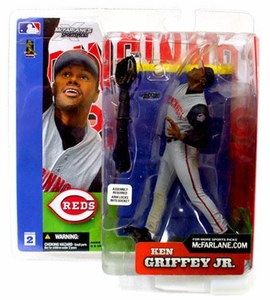 McFarlane Toys MLB Sports Picks Series 2 Action Figure Ken Griffey Jr. (Cincinnati Reds) Grey Jersey [Display Figure, Opened Packaging]