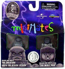 Universal Monsters Exclusive Minimates The Creature & The Wolfman [Black & White]