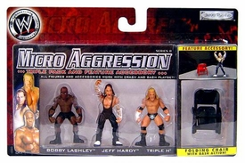 WWE Wrestling Micro Aggression Series 8 Figure 3-Pack Triple H, Jeff Hardy & Bobby Lashley