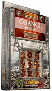 IronDie Solid Metal Designer Dice Strategy Game Orange Basic Starter Set