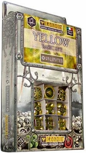 IronDie Solid Metal Designer Dice Strategy Game Yellow Basic Starter Set