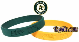 Official MLB Major League Baseball Team Rubber Bracelet Oakland A's (Yellow)