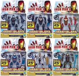 Iron Man 3 Assemblers Set of 6 Action Figures [Mark 42, War Machine, Iron Patriot, Hypervelocity, Stealthtech & Starboost]