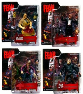 Mezco Toyz Cinema of Fear Series 1 Set of 4 Action Figures [Chop Top, Leather Face, Freddy & Jason]