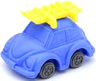 Iwako Japanese Eraser Beetle Car [Blue Car & Yellow Skis]