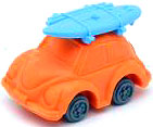 Iwako Japanese Eraser Beetle Car [Orange Car & Blue Surfboard]