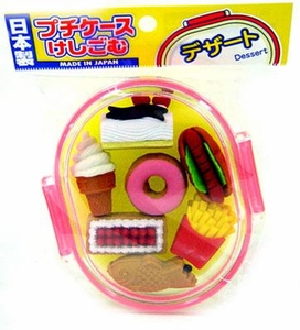 Iwako Japanese Food Eraser Set Deluxe Snacks & Cakes [Pink Case]