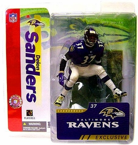 McFarlane Toys NFL Sports Picks Collectors Club Exclusive Action Figure Deion Sanders (Baltimore Ravens) Purple Jersey & White Pants