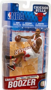 McFarlane Toys NBA Sports Picks Series 19 Action Figure Carlos Boozer (Chicago Bulls) White Uniform Silver Collector Level Chase Only 1,000 Made!