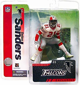McFarlane Toys NFL Sports Picks Collectors Club Exclusive Action Figure Deion Sanders (Atlanta Falcons) White Jersey Yellow Packaging