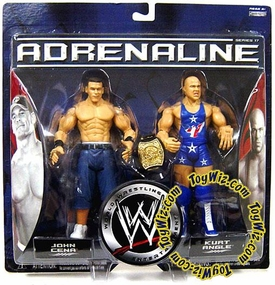 WWE Jakks Pacific Wrestling Adrenaline Series 17 Action Figure 2-Pack John Cena Vs. Kurt Angle World Heavyweight Title Included!