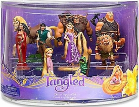 Disney Tangled Exclusive 9 Piece Deluxe Mini PVC Figurine Set [Rapunzel, Flynn, Pascal, Maximus, Toddler Rapunzel, Mother Gothel, Shorty, Hook Hand Thug & Valadmir]