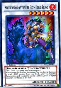 YuGiOh Zexal Cosmo Blazer Single Card Super Rare CBLZ-EN097 Brotherhood of the Fire Fist - Horse Prince