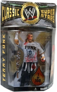 WWE Jakks Pacific Wrestling Classic Superstars Toyfare Exclusive Action Figure Bloody Funk U Terry Funk [1 of 100] Autographed!