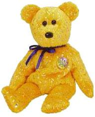Ty Beanie Baby Gold Decade the Bear