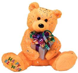 Ty Beanie Baby Happy Birthday the Bear Orange