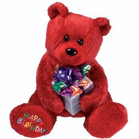 Ty Beanie Baby Happy Birthday the Bear Red