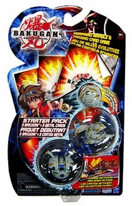 Bakugan Game LUMINOZ [Grey] Series 1 Classic Starter Pack [3 Random Figures & 3 Metal Cards]