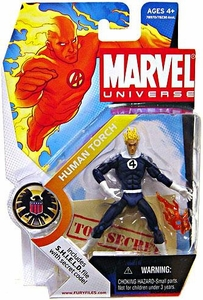 Marvel Universe 3 3/4 Inch Series 1 Action Figure #11 Human Torch [Dark Blue Outfit]