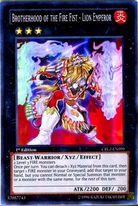 YuGiOh Zexal Cosmo Blazer Single Card Super Rare CBLZ-EN099 Brotherhood of the Fire Fist - Lion Emperor