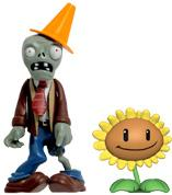 Plants vs Zombies 3 Inch Figure 2-Pack Conehead Zombie & Sunflower