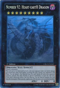 YuGiOh Zexal Cosmo Blazer Single Card GHOST Rare CBLZ-EN045 Number 92: Heart-eartH Dragon