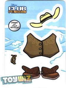 Disney Club Penguin Online Code Sticker Redemption Sticker Card Cowboy[Gets You 4 Virtual Trading Cards!]