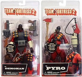 NECA Team Fortress 2 Set of Both RED Series 1 Action Figures [Demoman & Pyro]