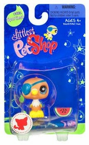 Littlest Pet Shop Sportiest Single Figure Parrot with Eye Patch & Watermelon