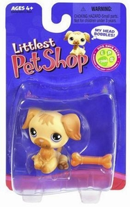 Littlest Pet Shop Single Figure Golden Retriever with Bone