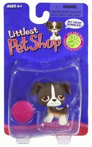 Littlest Pet Shop Single Figure Brown Mutt with Pink Frisbee