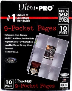 Ultra Pro Card Supplies 10 Nine Pocket Pages Hologram Series