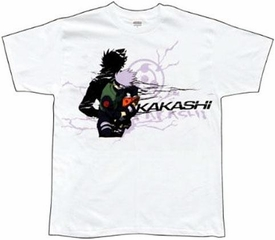 Naruto Adult T-Shirt Kakashi Shadow [White]