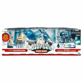 Star Wars Galactic Heroes Exclusive Deluxe Cinema Scene Kamino Showdown Mini Figure Multi Pack [Jango Fett, Boba Fett, Clone Commander, Obi-Wan Kenobi, R4-P17, Taun We & 2 Clone Trooper Figures]