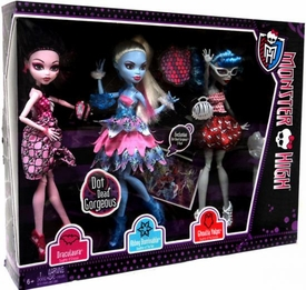 Monster High Dot Dead Gorgeous Exclusive Action Figure Doll 3-Pack Draculaura, Abbey Bominable & Ghoulia Yelps