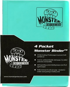 Monster Protectors Card Supplies 4-Pocket Teal Mini Binder