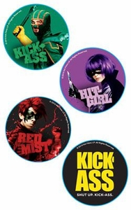 Kick-Ass Mezco Toyz Pin Set Kick-Ass, Hit Girl, Red Mist & Kick-Ass Logo Includes 4 Pins!