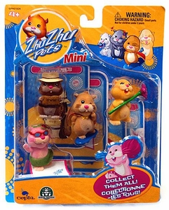 Zhu Zhu Pets Mini Figure 4-Pack Scoodles, Mr. Squiggles, Nugget & Jilly