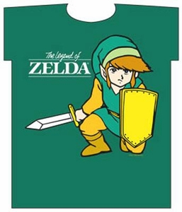 Nintendo Legend of Zelda Link Adult T-Shirt Kneeling with Sword