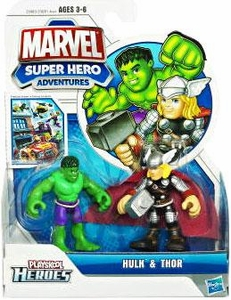 Marvel Playskool Super Hero Adventures Mini Figure 2-Pack Hulk & Thor