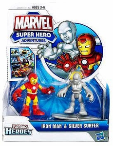 Marvel Playskool Super Hero Adventures Mini Figure 2-Pack Iron Man & Silver Surfer